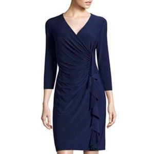 Evan Picone Ruched Cascade Navy Dress
